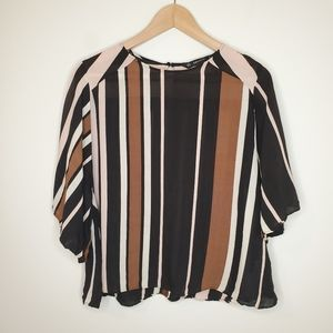💥 Zara Basic Striped Flowy Short Sleeve Blouse